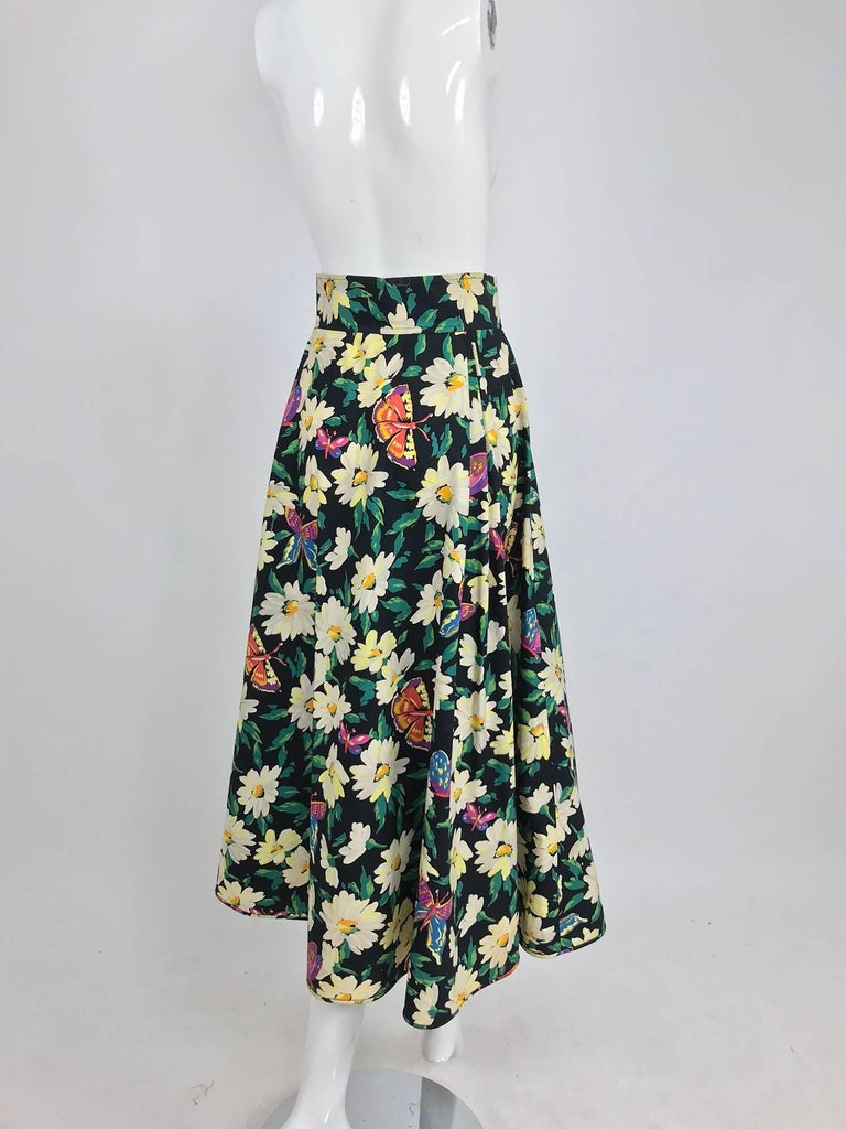 e8d1bdafe9 Ungaro cotton floral butterfly print high waist full skirt, 1980s For Sale 9
