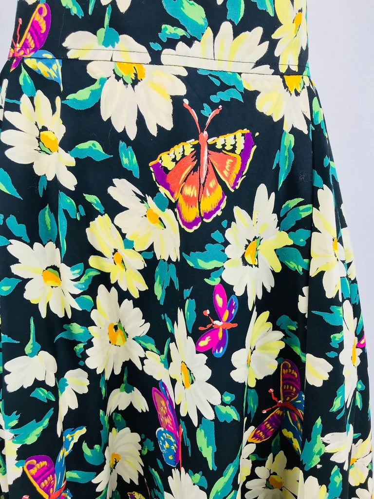 2de17cb158 Ungaro cotton floral butterfly print high waist full skirt from the  1980s...This