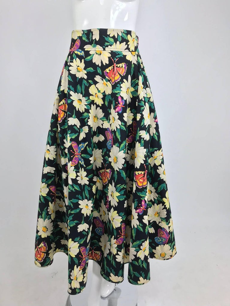 f246e682aa Black Ungaro cotton floral butterfly print high waist full skirt, 1980s For  Sale