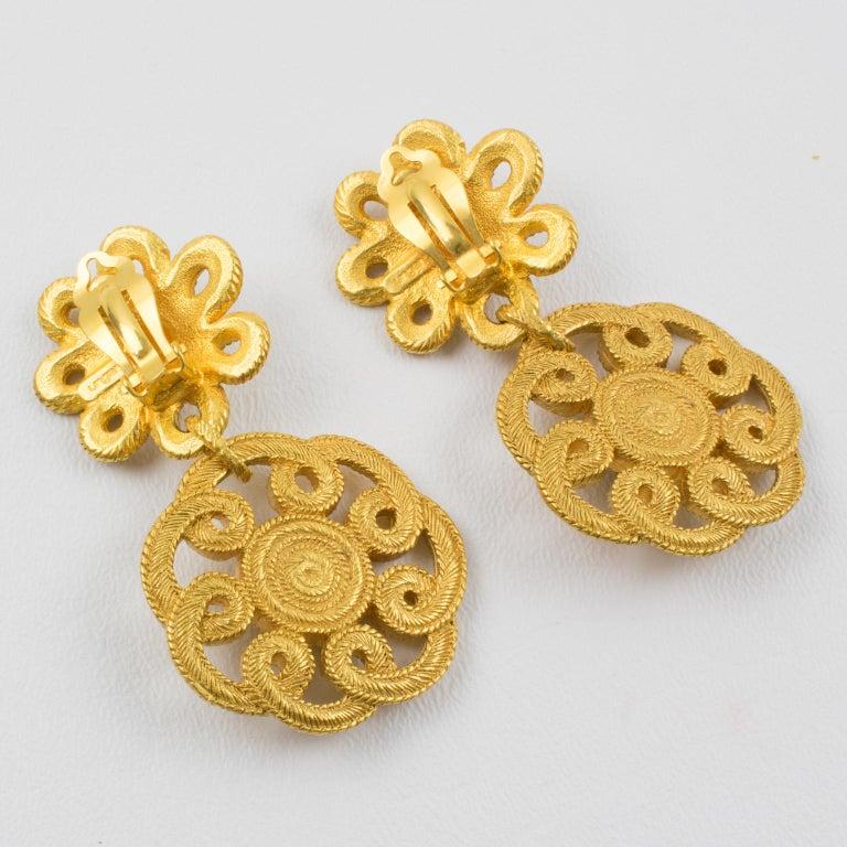 Women's Ungaro Floral Dangle Clip Earrings For Sale
