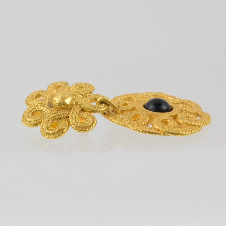 Ungaro Floral Dangle Clip Earrings For Sale 2