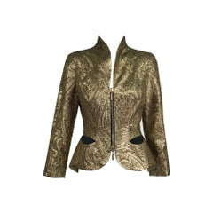 Ungaro Gold Brocade Zip Front Evening Jacket