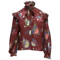 Ungaro Multicolor Floral Ruffle Silk Blouse