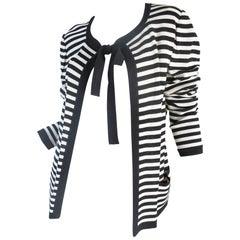 Ungaro navy and cream striped cardigan with tie