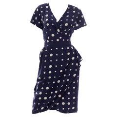 Ungaro Parallele Vintage Blue Polka Dot Silk Dress