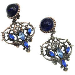 UNGARO Paris ear clip, blue Gripoix, Brass 1980/90