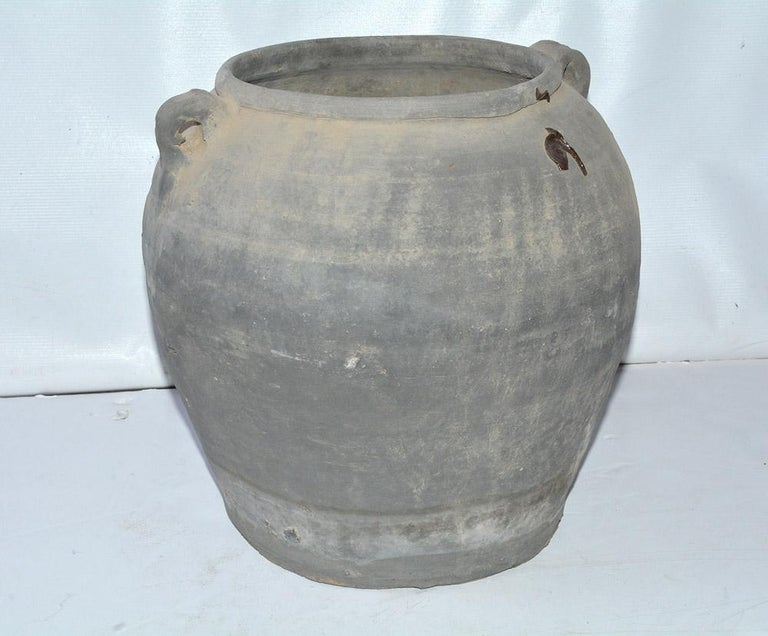 Hand-Crafted Unglazed Chinese Clay Pot or Jar with Handles For Sale