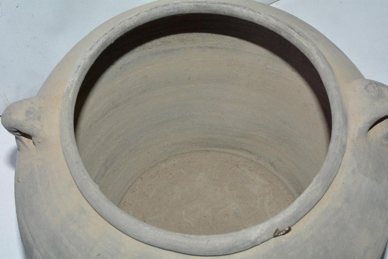 Unglazed Chinese Clay Pot or Jar with Handles For Sale 1