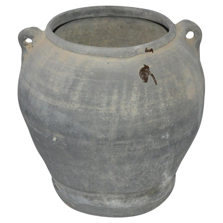 Unglazed Chinese Clay Pot or Jar with Handles For Sale