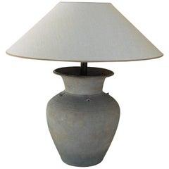 Unglazed Khmer Vase as Table Lamp