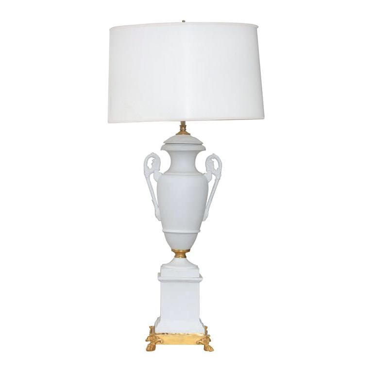 Unglazed Paris Porcelain and Gilded Bronze Lamp