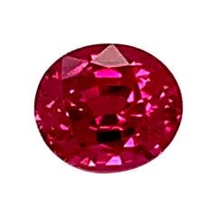 Unheated 1.08 Carat Burmese Ruby Oval GIA Unset 3-Stone Engagement Ring Gemstone