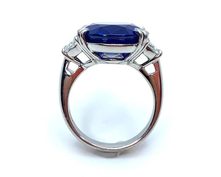Unheated 12.23 Carat Ceylon Blue Sapphire GIA, Diamond Platinum 3-Stone Ring For Sale 2