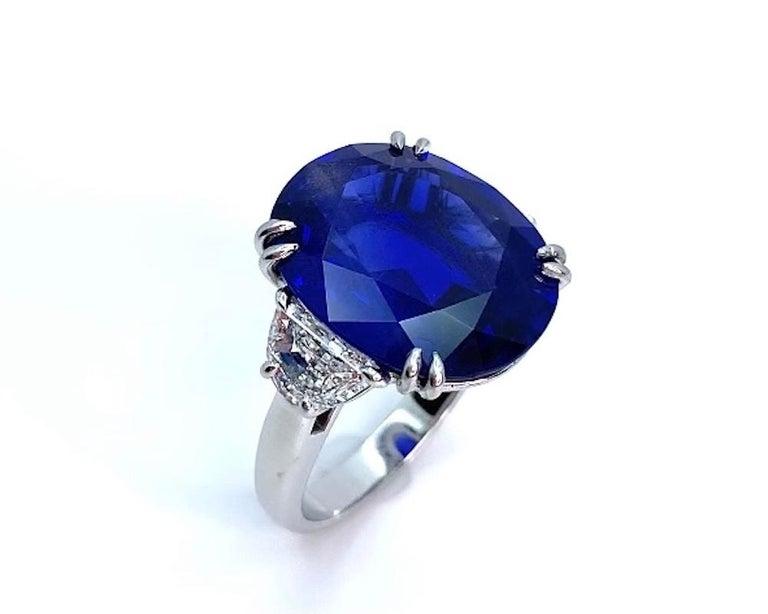 Artisan Unheated 12.23 Carat Ceylon Blue Sapphire GIA, Diamond Platinum 3-Stone Ring For Sale