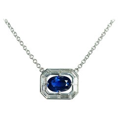 Art Deco Inspired Unheated GIA Blue Sapphire, Diamond, White Gold Necklace
