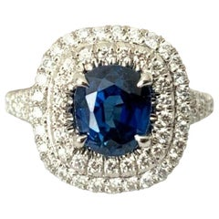 Unheated 1.99 Carat Natural Royal Blue Sapphire and Diamond Ring GIA Certified