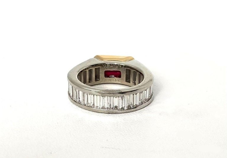 Artisan Unheated 2.00 Carat GIA Ruby & Diamond, Platinum & 18K Gold Engagement Ring For Sale