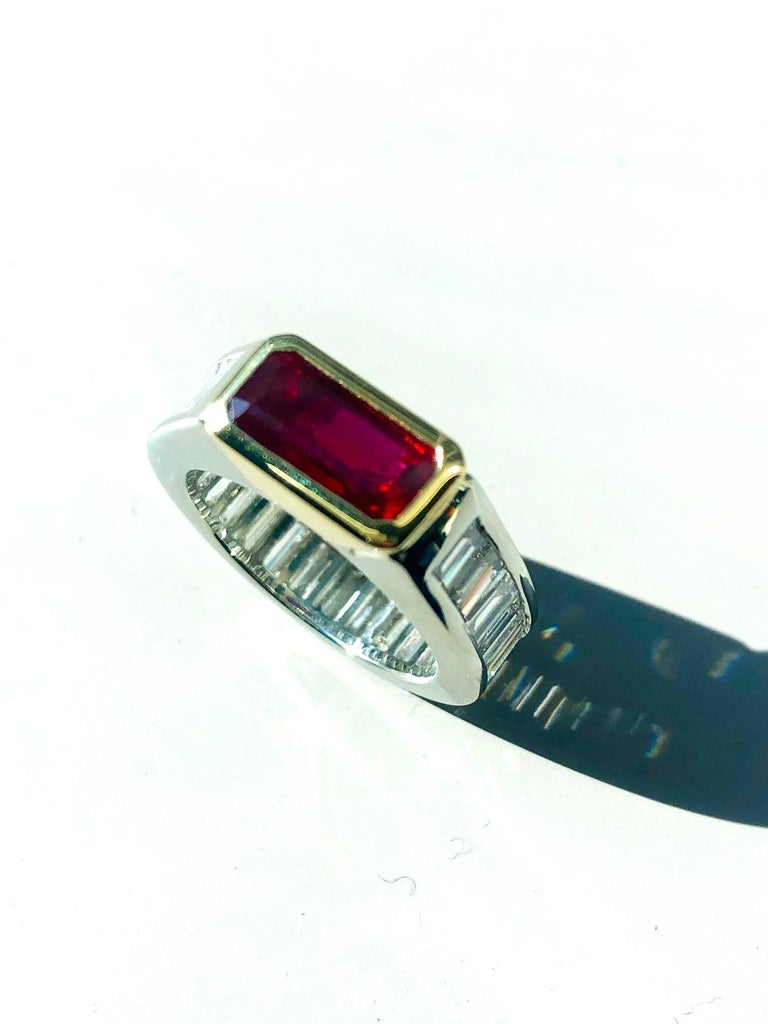 Unheated 2.00 Carat GIA Ruby & Diamond, Platinum & 18K Gold Engagement Ring In New Condition For Sale In Los Angeles, CA