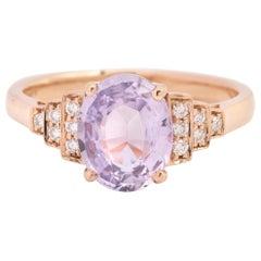 Unheated 2.19 Carat Lilac Sapphire Diamonds 18 Carat Rose Gold Ring 'Certified'