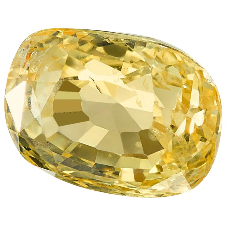 Unheated 2.49 Carat Cushion Yellow Sapphire, GIA Certified For Sale