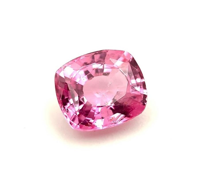 Artisan Unheated 3.11 Carat Purple Pink Sapphire, GIA, Unset Loose 3-Stone Ring Gemstone For Sale