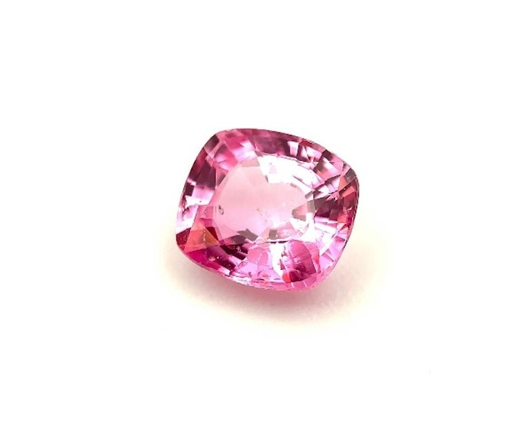 Cushion Cut Unheated 3.11 Carat Purple Pink Sapphire, GIA, Unset Loose 3-Stone Ring Gemstone For Sale
