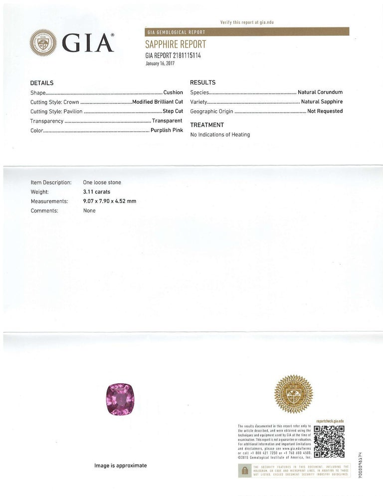 Unheated 3.11 Carat Purple Pink Sapphire, GIA, Unset Loose 3-Stone Ring Gemstone For Sale 3