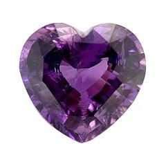 Unheated 3.56 Ct Fancy Purple Sapphire Heart, GIA, Unset Loose Pendant Gemstone