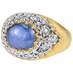 Unheated 3.94 Carat Oval Blue Star Sapphire & .74 Carats Diamonds 18k Gold Ring