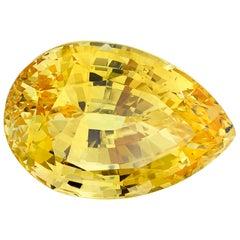 Unheated 44.36 ct. Yellow Sapphire Pear, GIA, Pendant, Enhancer, Collector Gem