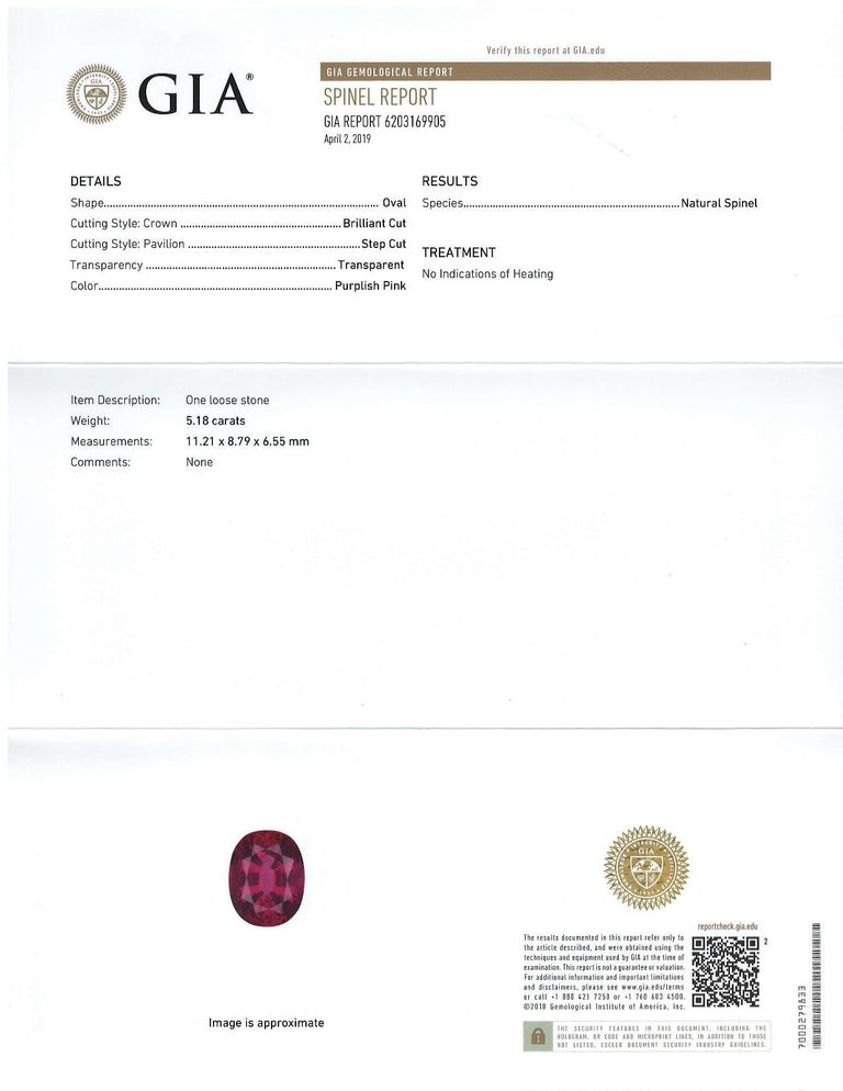 Pretty purplish- pink-fuschia-colored oval spinel measuring 11.21 x 8.79 x 6.55 millimeters and weighing 5.18 carats. It is accompanied by Gemological Institute of America certificate #6203169905. Unheated, nicely cut and eye clean. A beautiful gift