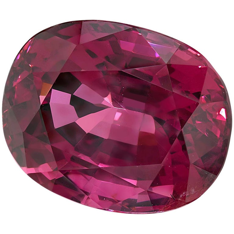 5.18 ct. Purple Pink Spinel Unheated Oval GIA, Unset 3-Stone Engagement Ring Gem For Sale