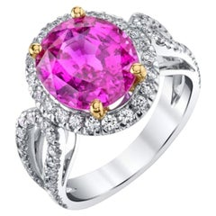 Unheated 5.73 Carat Pink Sapphire 'GIA' Diamond, Gold Engagement Cocktail Ring