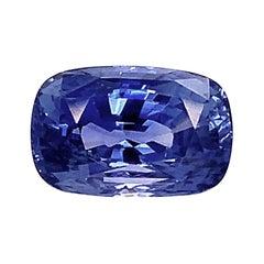 Unheated 7.12 Ct. Burmese Blue Sapphire Cushion GIA, Unset 3-Stone Ring Gemstone
