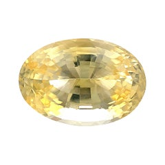 Unheated 7.16 Ct Yellow Sapphire Oval GIA, Loose 3-Stone Engagement Ring Gem