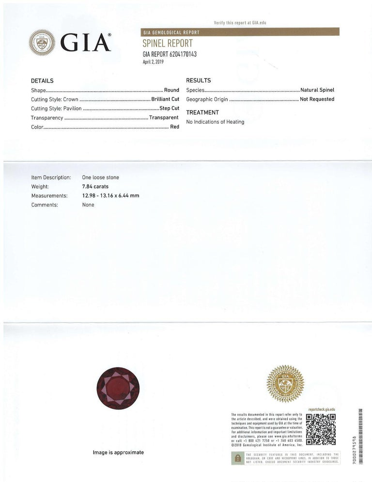 Giant round, blood red spinel measuring 12.98 x 13.16 x 6.44 millimeters and weighing 7.84 carats!  It is very unusual to find a round spinel of this large size; usually they are cut in elongated shapes to maximize weight retention from the rough