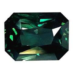 Unheated 8.63 ct. Blue Green Sapphire, GIA, Unset 3-Stone Ring, Pendant Gemstone