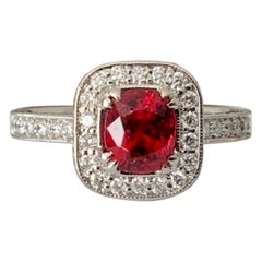 Unheated .98 Carat Natural Burma Vivid Red Spinel and Diamond Ring GIA Certified
