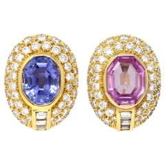 Unheated Blue and Pink Sapphire and Diamond Clip-On Earrings