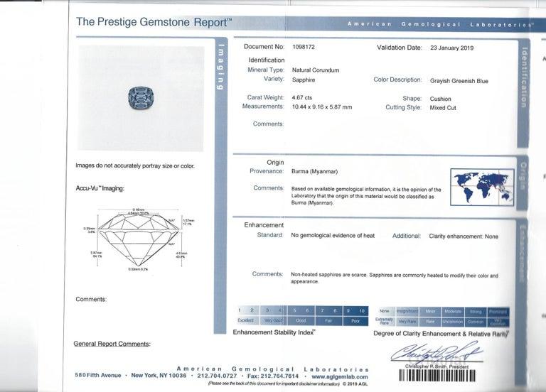 Modern Unheated Blue Sapphire Burma AGL Certified 4.67 Carat For Sale