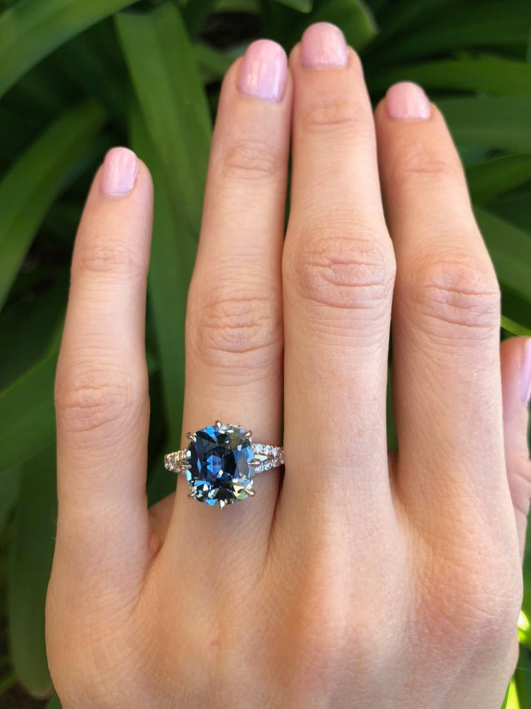 Unheated Burma Blue Sapphire Diamond Platinum Ring 4.67 Carat AGL Certified In New Condition For Sale In Beverly Hills, CA