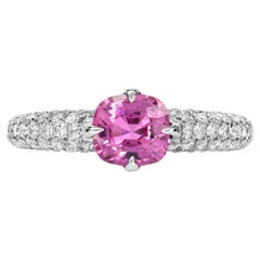 Unheated Burma Pink Sapphire Ring 1.19 Carats No Heat