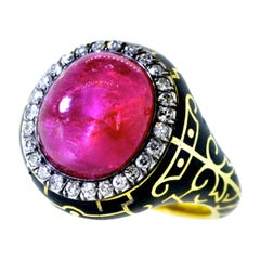 Unheated Burma Ruby, AGL Certified, and Diamond Antique Ring, circa 1880