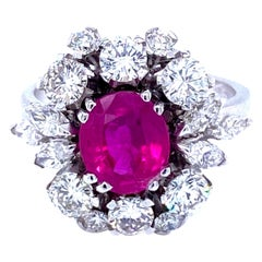 Unheated Burma Ruby Diamond Vintage Gold Cluster Ring