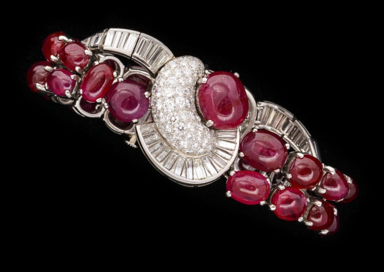 Cabochon Unheated Burmese cabochon ruby and diamond bracelet For Sale