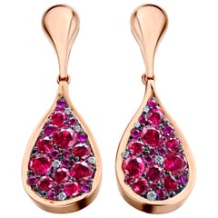 Unheated Burmese Hot Pink Red Spinel, Ruby, diamond, Pink Sapphire Pave Earrings