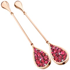 Unheated Burmese Red Spinel Pave Long Earrings