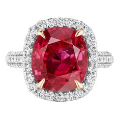 Unheated Burmese Ruby and Diamond Ring by Takat