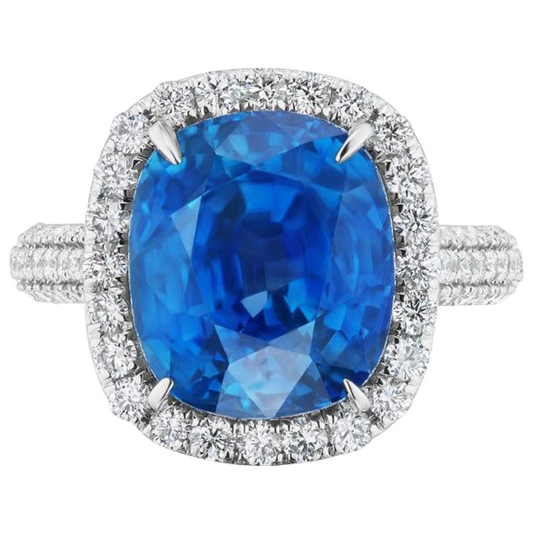 Unheated Burmese Sapphire and Diamond Ring by Takat For Sale