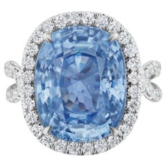 Unheated Burmese Sapphire and Diamond Ring by Takat